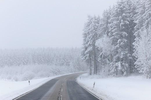 Stock Photo: 1848-451335 Road in winter, Swabian Alb, Baden_Wuerttemberg, Germany, Europe
