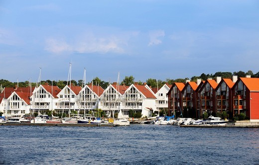 White wooden houses at the marina of Stavanger, Norway, Scandinavia, Northern Europe : Stock Photo
