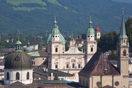 Stock Photo: 1848-451578 View of the city center with the Kollegienkirche church, the Cathedral and the Franciscan Church, Salzburg, Austria, Europe