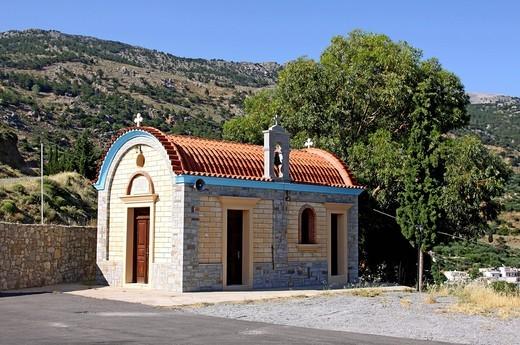 Chapel at the Memorial of Amiras, Viannos, Crete, Greece, Europe : Stock Photo