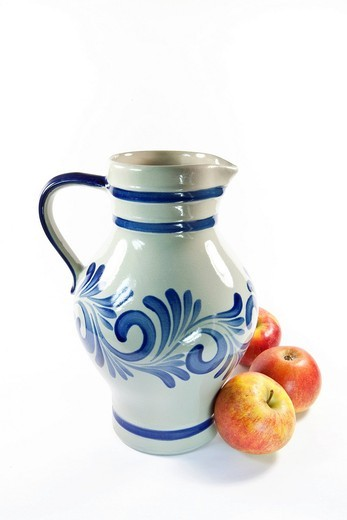 Cider, Hessian specialty, cider jug, apples : Stock Photo