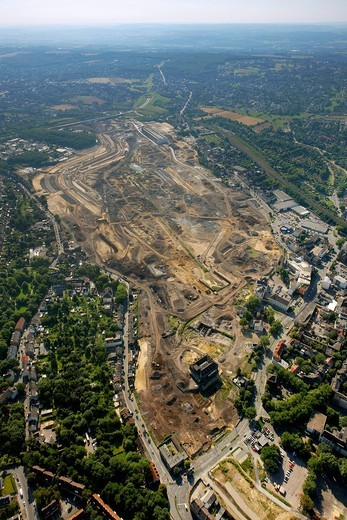 Aerial view, landscape planning, Emscher, Phoenix_See, former steel mill site, Hoerde, Dortmund, Ruhrgebiet region, North Rhine_Westphalia, Germany, Europe : Stock Photo
