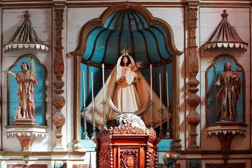 Altar in the Church of Nuestra Señora de Remedios, Yaiza, Lanzarote, Canary Islands, Spain, Europe : Stock Photo