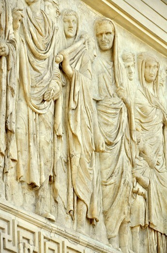 Relief, processional frieze of Augustus, Altar of Augustan Peace, Ara Pacis Augustae, southside, Rome, Lazio, Italy, Europe : Stock Photo