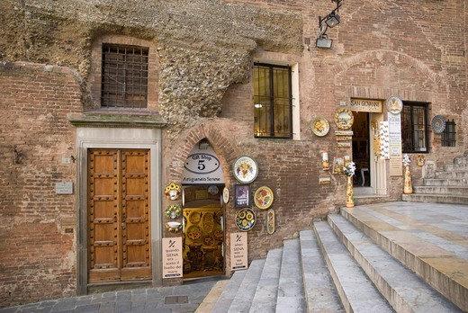 Souvenir shop in the historic town centre of Siena, Tuscany, Italy, Europe : Stock Photo