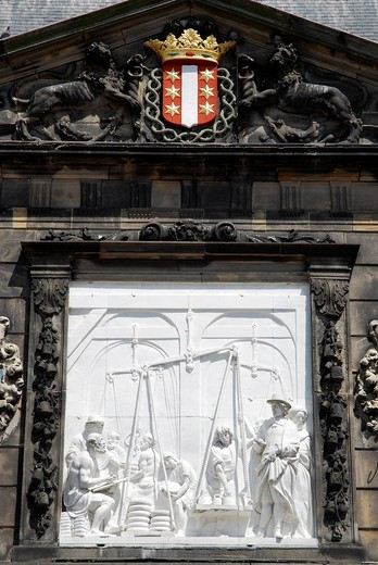 Relief with historical motive, De Waag scale building on the market square of Gouda, Zuid_Holland, South Holland, the Netherlands, Europe : Stock Photo