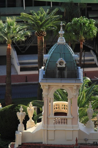 Turrets of the Musée National, doll museum in the Belle Epoque style, in the back the Grimaldi Forum convention center, Monaco, Cote d´Azur, Europe : Stock Photo
