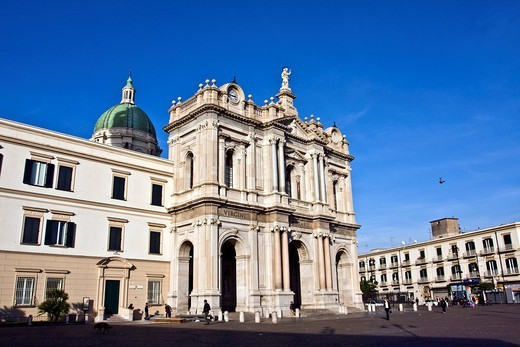 Stock Photo: 1848-453871 Basilica of the Shrine of Our Lady of the Rosary, Santuario della Madonna del Rosario, modern Pompei, architects Antonio Cua and Maria Chiapetta, Naples, Campania, Italy, Europe