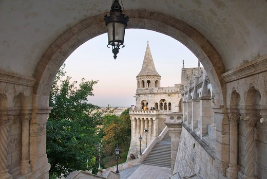 Stock Photo: 1848-453911 View through archway to tower, people, Fishermen´s Bastion, castle, Budapest, Hungary, Europe