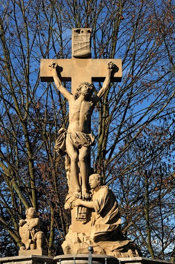 Crucifixion group, detail, by Leonhard Gollwitzer, 1715, Obere Bruecke, Bamberg, Upper Franconia, Bavaria, Germany, Europe : Stock Photo
