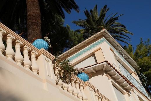 Stock Photo: 1848-454070 Terrace of a villa in Roquebrune Cap Martin, Alpes Maritimes Département, Région Provence_Alpes_Côte d´Azur, France, Europe