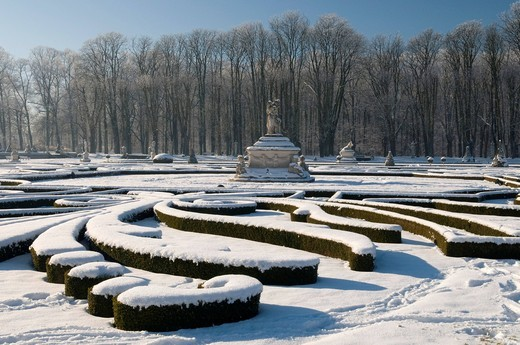 Stock Photo: 1848-454310 Venusinsel, palace grounds of Schloss Nordkirchen castle in winter, Muensterland, North Rhine_Westphalia, Germany, Europe
