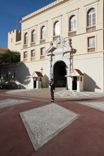 Stock Photo: 1848-454411 Guard at the Prince´s Palace, Principality of Monaco, Cote d´Azur, Europe