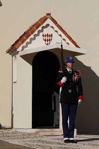 Stock Photo: 1848-454420 Guard at the Prince´s Palace, Principality of Monaco, Cote d´Azur, Europe