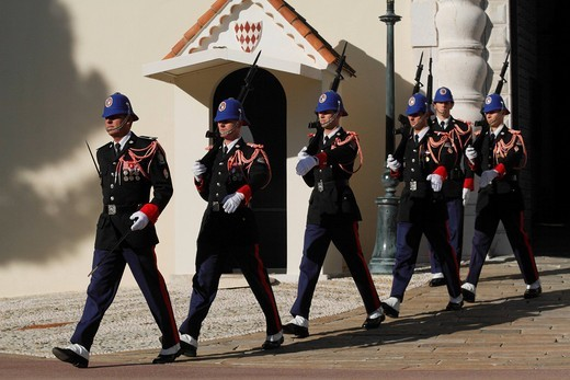 Changing of the Princely Guard at noon in front of the Prince´s Palace, departure of the relieved guard, Principality of Monaco, the Cote d´Azur, Europe : Stock Photo