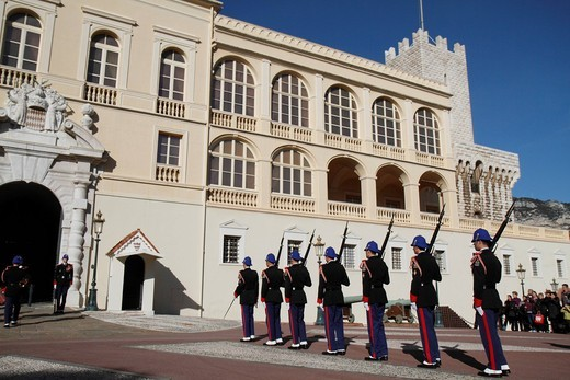 Stock Photo: 1848-454425 Changing of the Princely Guard at noon in front of the Prince´s Palace, parade of the relieving guard, Principality of Monaco, Cote d´Azur, Europe