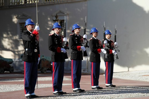 Changing of the Princely Guard at noon in front of the Prince´s Palace, presenting the guns, Principality of Monaco, Cote d´Azur, Europe : Stock Photo