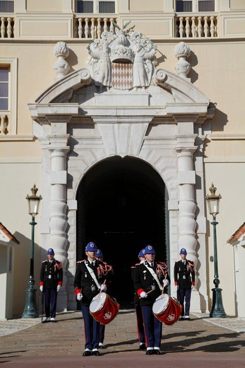 Changing of the Princely Guard at noon in front of the Prince´s Palace, military band, Principality of Monaco, Cote d´Azur, Europe : Stock Photo