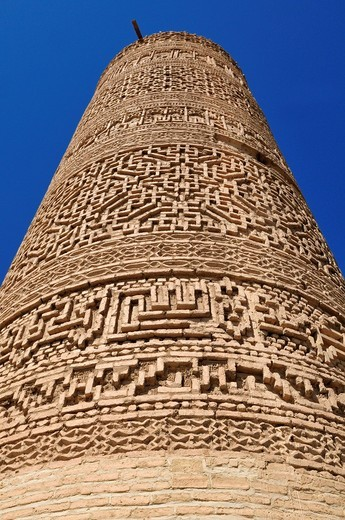 Stock Photo: 1848-454448 Famous brick decorated minarett of Saveh, Markazi, Persia, Iran, Asia