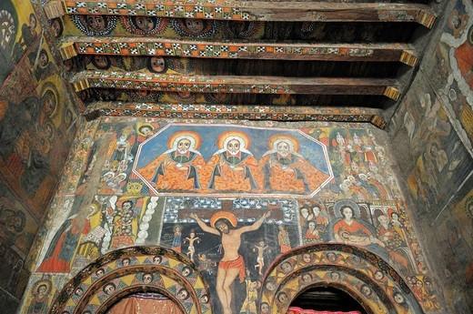 Famous wallpaintings, murals, in the Debre Berhan Salassie Church, UNESCO World Heritage Site, Gonder, Gondar, Amhara, Ethiopia, Africa : Stock Photo
