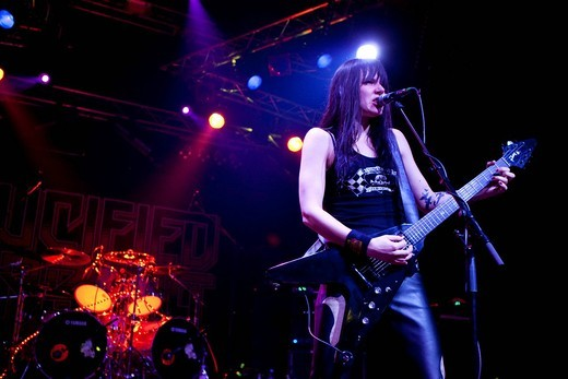 Stock Photo: 1848-454660 Mia Coldheart, singer of the Swedish all_women heavy metal band Crucified Barbara, live in the Transilvania in Erstfeld, Uri, Switzerland