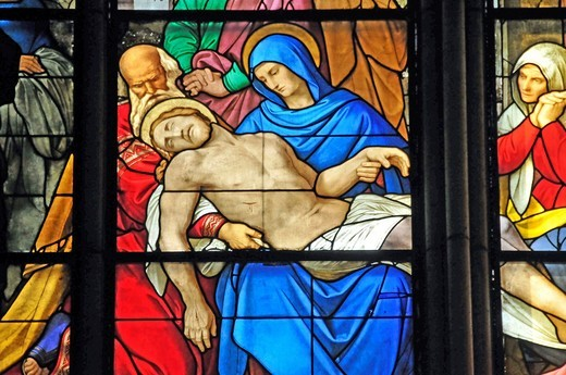 Lamentation of Christ, lamentation window, Cologne Cathedral, Cologne, North Rhine_Westphalia, Germany, Europe : Stock Photo