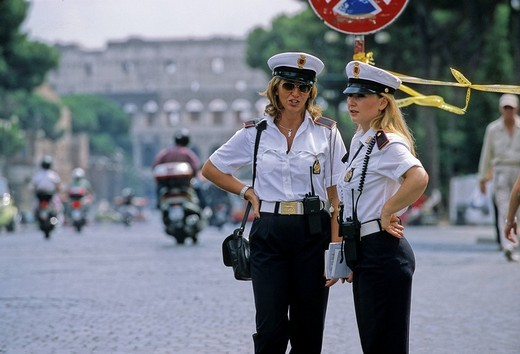 Stock Photo: 1848-4551 Two female police officers, Via dei Fori Imperiali, Rome, Latium, Italy