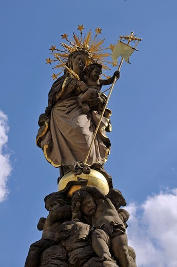 Marian Column on Kornmarkt square, Heidelberg, Neckar Valley, Baden_Wuerttemberg, Germany, Europe : Stock Photo