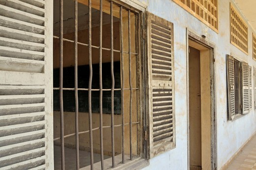 Stock Photo: 1848-455324 Torture cell, Tuol Sleng Museum, former school, used as a concentration camp and torture prison by the Khmer Rouge from 1975 to 1979, Phnom Penh, Cambodia, Asia