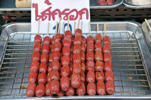 Stock Photo: 1848-455432 Grilled sausage, cookshop in Thailand, Asia