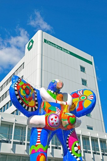 Lifesaver fountain by Niki de Saint Phalle and Jean Tinguely, Koenigstrasse Street, Duisburg, North Rhine_Westphalia, Germany : Stock Photo