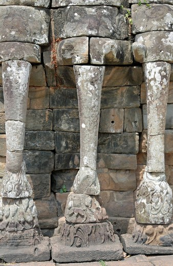 Reliefs of elephants, Terrace of the Elephants, Angkor, Cambodia, Asia : Stock Photo