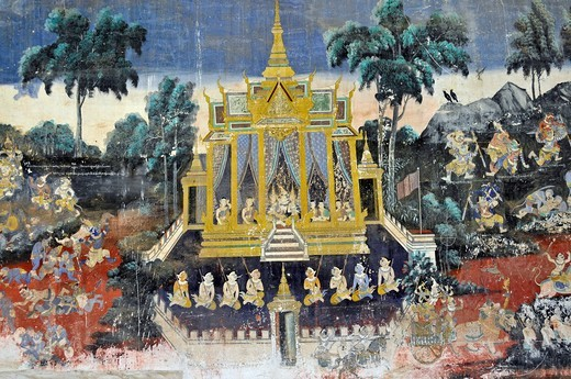 Paintings of the Hindu Ramayana epos, from about 1900, Royal Palace, Phnom Penh, Cambodia, Asia : Stock Photo