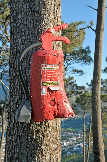 Rule of conduct on a wooden fire extinguisher, Signal Hill, Cape Town, South Africa, Africa : Stock Photo