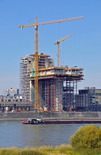 Construction site, Kranhaus Nord building at the Rheinauhafen harbour, Cologne, North Rhine_Westphalia, Germany, Europe : Stock Photo