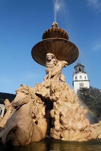 Residenzbrunnen fountain, monumental baroque fountain, Salzburg, Austria, Europe : Stock Photo
