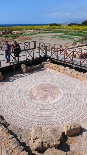 Mosaic, the ruins of Kato Pafos, Cyprus, Greece, Europe : Stock Photo