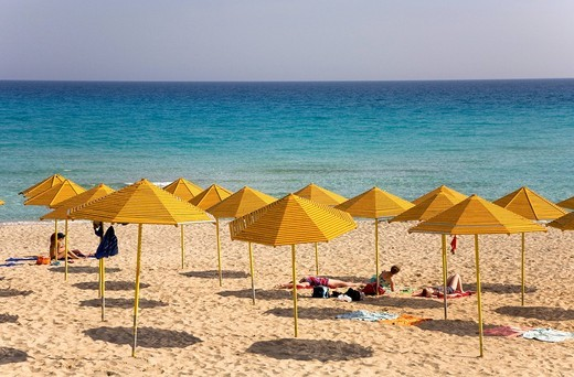 Stock Photo: 1848-456366 Nissi Beach, yellow umbrellas, Agia Napa, Cyprus, Greece, Europe