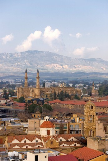 View of the Turkish side of Nicosia, Selimiye Mosque was formerly St. Sophia Cathedral, Nicosia, Cyprus, Greece, Europe : Stock Photo