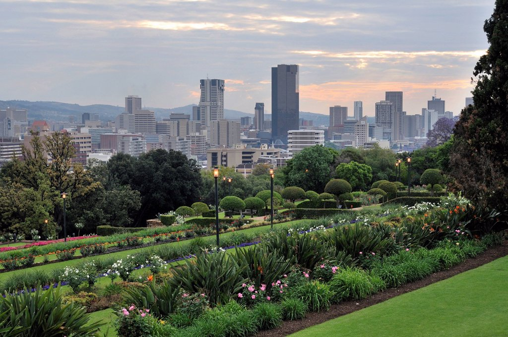 View from the gardens of the Union Buildings towards the city centre of Pretoria, South Africa, Africa : Stock Photo
