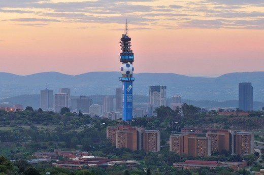 Stock Photo: 1848-456517 TV Tower of the South African Telecom with a football motif in Pretoria, host city of the FIFA World Cup 2010, Pretoria, South Africa, Africa