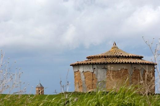 Old dovecote, Villafafila Lagoon, Zamora province, Castilla_León, Spain, Europe : Stock Photo