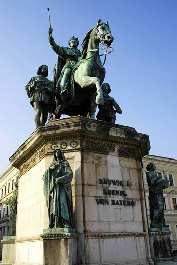 Equestrian statue, Memorial of Ludwig the 1st, Munich, Upper Bavaria, Germany, Europe : Stock Photo