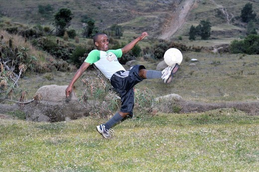 Football project with youths, Cata_Village in the former homeland of Ciskei, Eastern Cape, South Africa, Africa : Stock Photo