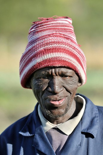 Portrait of a farmer, Cata_Village in the former Homeland Ciskei, Eastern Cape, South Africa, Africa : Stock Photo