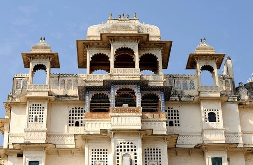 City palace of Udaipur, exterior, detail, Udaipur, Rajasthan, North India, India, South Asia, Asia : Stock Photo