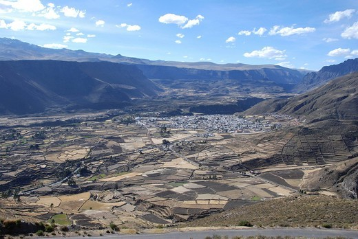 Stock Photo: 1848-457054 Overlooking Chivay, Escalera, Inca settlement, Quechua settlement, Peru, South America, Latin America