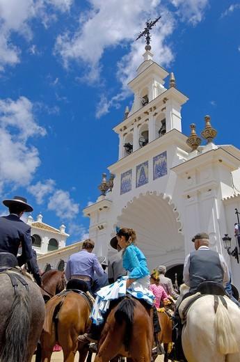 Pilgrims at El Rocio village, Romería, pilgrimage, to El Rocío, Almonte, Huelva province, Andalucia, Spain, Europe : Stock Photo