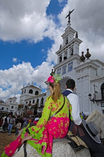 Pilgrims at El Rocio village, Romería, pilgrimage, to El Rocío, Almonte, Huelva province, Andalucia, Spain, Europe : Stock Photo
