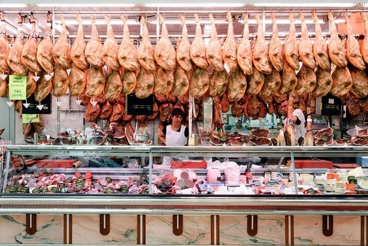 Stock Photo: 1848-457328 Stall selling air_dried Serrano Ham in the central market, mercado central of Valencia, Spain, Europe
